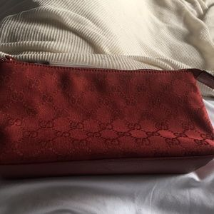 Authentic Gucci red canvas make up bag